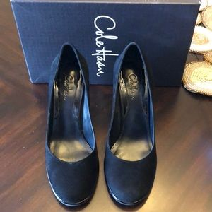 Cole Haan wedge closed toe suede dress shoes